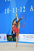 Berezko Jana during qualifying at hoop in Pesaro World Cup 10 April 2015.<br /> Jana is a German individual rhythmic gymnast of Russian origin, born on October 17, 1995 in Tolyatti, Russia.