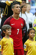 Portugal Forward Cristiano Ronaldo lines up during the Euro 2016 final between Portugal and France at Stade de France, Saint-Denis, Paris, France on 10 July 2016. Photo by Phil Duncan.