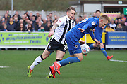 AFC Wimbledon striker Joe Pigott (39) dribbling in the box during the EFL Sky Bet League 1 match between AFC Wimbledon and Gillingham at the Cherry Red Records Stadium, Kingston, England on 23 March 2019.