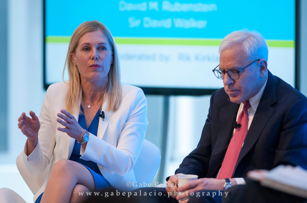 Stephanie Leaist, Managing Director, Head of Sustainable Investing, Public Market Investments, CPPIB, and David M. Rubenstein, Co-founder and Co-CEO, The Carlyle Group,  at the Long Term Value Summit in New York on March 10, 2015.