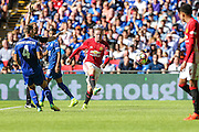 Wayne Rooney Forward of Manchester United takes a shot at goal during the FA Community Shield match between Leicester City and Manchester United at Wembley Stadium, London, England on 7 August 2016. Photo by Shane Healey.
