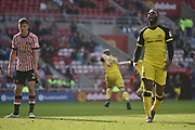 Burton Albion striker Darren Bent (9) celebrates as Liam Boyce (27) scores to make the score 2-1 during the EFL Sky Bet Championship match between Sunderland and Burton Albion at the Stadium Of Light, Sunderland, England on 21 April 2018. Picture by Richard Holmes.