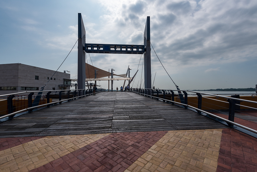 A bridge over the Guayas river from the promenade in Guayaquil, Ecuador.