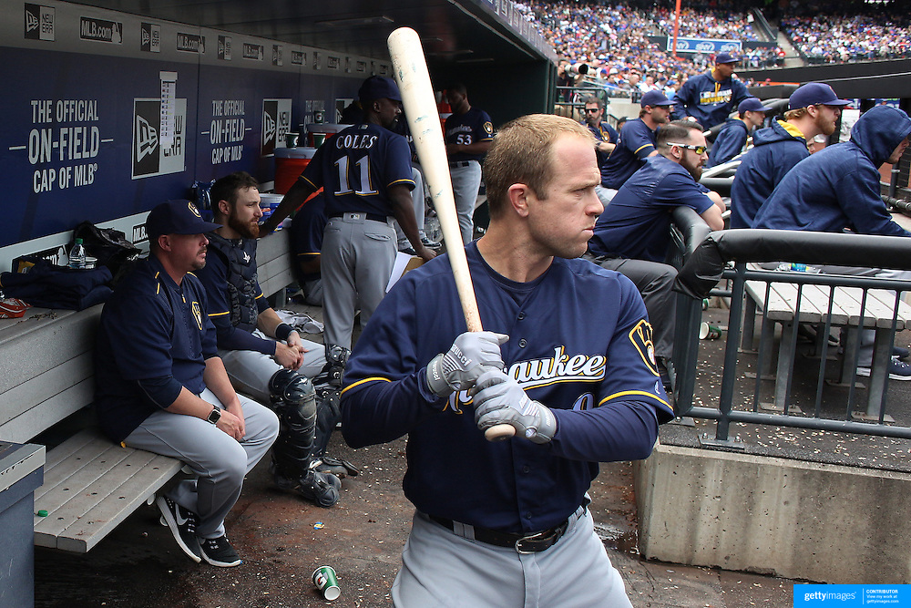 NEW YORK, NEW YORK - May 22:  Aaron Hill #9 of the Milwaukee Brewers in the dugout preparing to bat during the Milwaukee Brewers Vs New York Mets regular season MLB game at Citi Field on May 22 2016 in New York City. (Photo by Tim Clayton/Corbis via Getty Images)