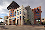 Central Library section of the Denver Public Library, built 1995 by Michael Graves, at 1357 Broadway, Denver, Colorado, USA. This postmodern extension was added to the original 1950s building and was added to the National Register of Historic Places in 1990. Picture by Manuel Cohen