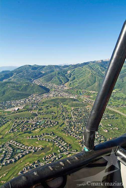 hot air balloon over Park City, UT USA