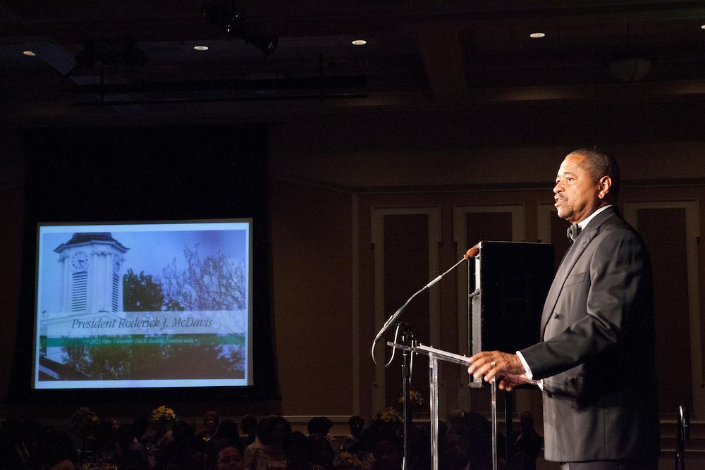 "President Roderick J. McDavis at ""Celebrating Black Heritage at Ohio University Through the Decades"" at the Black Alumni Reunion Gala in Baker Center on September 28, 2013."""