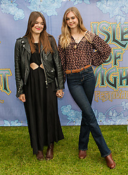 © Licensed to London News Pictures. 14/06/2015. Newport, UK.   First Aid Kit at Isle of Wight Festival 2015, Day 4 Sunday.  In this picture - Johanna Söderberg (right), Klara Söderberg (left)  Headline acts include The Prodigy, Blur and Fleetwood Mac.   Photo credit : Richard Isaac/LNP