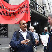 South Asia Solidarity Group host a Urgent London Protest against Modi regime unleashed a massive witchhunt against a whole range of dissenting voices targeting some of India's most credible and respected human rights with false allegations to try to silence all opposition and terrorise dissidents and demand the released of activists were arrested on the 28th August 2018 immediately outside India House on 31st August 2018, London, UK.
