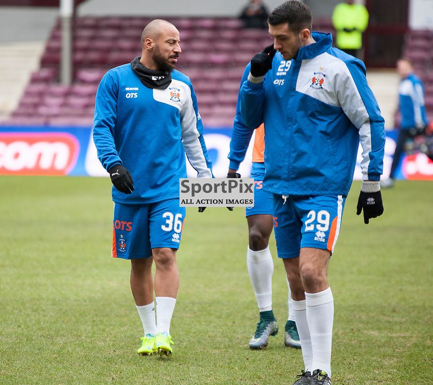 Hearts v Kilmarnock, Scottish Premiership, 27 February 2016, Kilmarnock's new signing Julien Faubert (Kilmarnock, 36) warms up before the Hearts v Kilmarnock Scottish Premiership match played at Tynecastle Stadium, © Chris Johnston | SportPix.org.uk