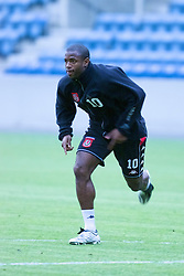 OSLO, NORWAY - Monday, September 3, 2001: Wales' Nathan Blake during training at the Ullevaal Stadion in Oslo ahead of his side's FIFA World Cup 2002 Qualifying Group 5 match against Norway. (Pic by David Rawcliffe/Propaganda)