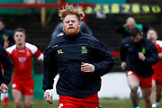 Keighley Cougars interchange Scott Law (8) warming up  during the Betfred League 1 match between Keighley Cougars and Workington Town at Cougar Park, Keighley, United Kingdom on 18 February 2018. Picture by Simon Davies.