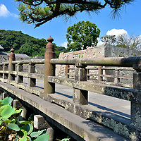 Footbridge to Tsurumaru Castle Ruins in Kagoshima, Japan<br />