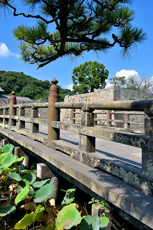 Footbridge to Tsurumaru Castle Ruins in Kagoshima, Japan<br /> Shimazu Tadatsune (1576 – 1638) was a feudal lord (daimyo) of the Satsuma Domain, a region encompassing much of today's Kagoshima Prefecture. In 1602, he voluntarily professed his loyalty to Tokugawa Ieyasu, the founder of the Tokugawa shogunate and rulers of Japan until 1868. As a result, Shimazu Tadatsune was allowed to remain the head of the Shimazu clan. He managed his fiefdom (hon) from the Tsurumaru Castle after it was finished in 1604. Also called Kagoshima Castle, it remained the center of local political power until it was burned in 1874 and then seized by the imperial army at the end of the Satsuma Rebellion in 1877. All that remains today is the moat beneath this footbridge and a few stone walls. Most interesting are the bullet holes from the Battle of Shiroyama.