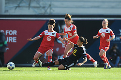 FFC Frankfurt's Dzsenifer Marozsan tackles Bristol Academy's Angharad James - Photo mandatory by-line: Dougie Allward/JMP - Mobile: 07966 386802 - 21/03/2015 - SPORT - Football - Bristol - Ashton Gate Stadium - Bristol Academy v FFC Frankfurt - UEFA Women's Champions League - Quarter Final - First Leg