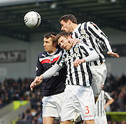 St Mirren's Lee Mair  and Paul Dummett deny Dundee's Colin Nish  - St Mirren v Dundee, Clydesdale Bank Scottish Premier League at St Mirren Park.. - © David Young - www.davidyoungphoto.co.uk - email: davidyoungphoto@gmail.com