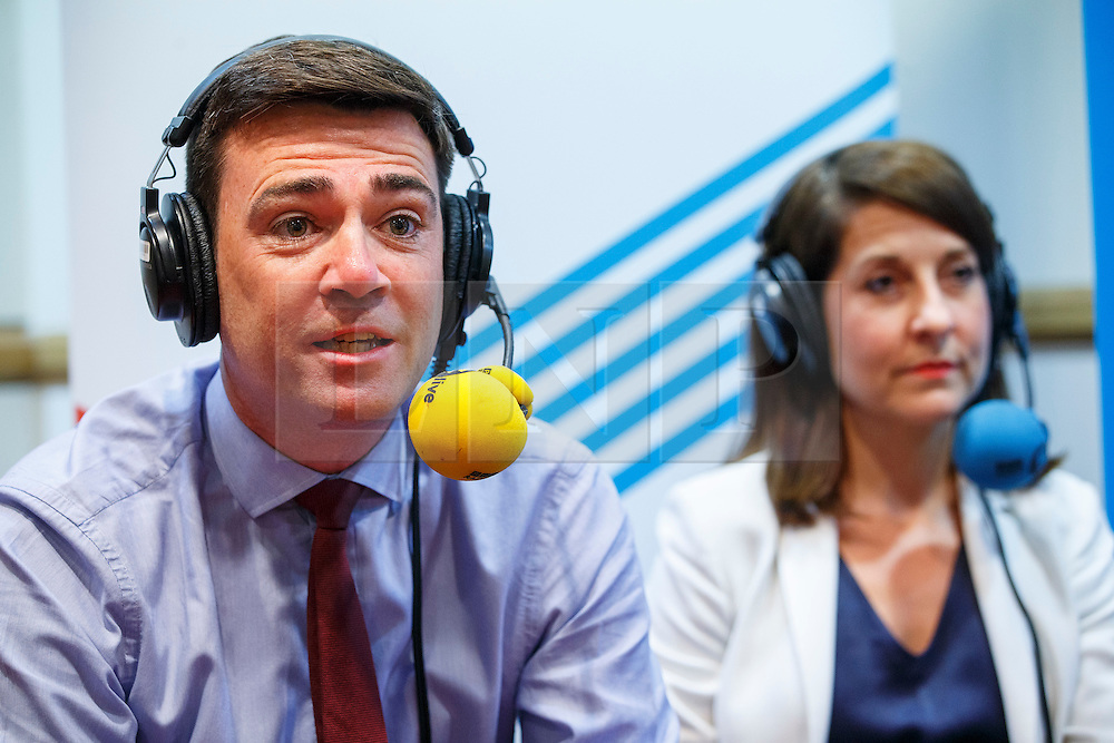 © Licensed to London News Pictures. 25/08/2015. Stevenage, UK. Labour Party leader candidates Liz Kendall and Andy Burnham attending a husting for Radio 5 at Stevenage Arts & Leisure Centre in Stevenage on Tuesday, 25 August 2015. Photo credit: Tolga Akmen/LNP