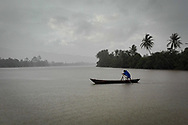 A day of monsoon on Kampot river, Cambodia. <br />