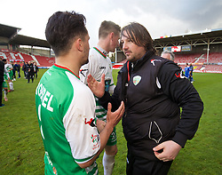 WREXHAM, WALES - Monday, May 2, 2016: The New Saints' manager Craig Harrison and goal-scorer Ryan Brobbel celebrate after the 2-0 victory over Airbus UK Broughton during the 129th Welsh Cup Final at the Racecourse Ground. (Pic by David Rawcliffe/Propaganda)