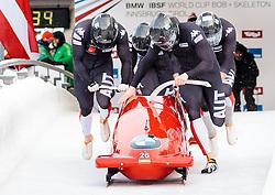 17.12.2017, Olympia Eisbahn, Igls, AUT, BMW IBSF Weltcup und EM, Igls, Viererbob, 1. Lauf, im Bild Markus Treichl, Markus Glueck, Marco Rangl, Ekemini Bassey (AUT) // Pilot Markus Treichl with Markus Glueck Marco Rangl Ekemini Bassey of Austria during 1st run of four-man Bobsleigh competition of BMW IBSF World Cup and European Championship at the Olympia Eisbahn in Igls, Austria on 2017/12/17. EXPA Pictures © 2017, PhotoCredit: EXPA/ Johann Groder