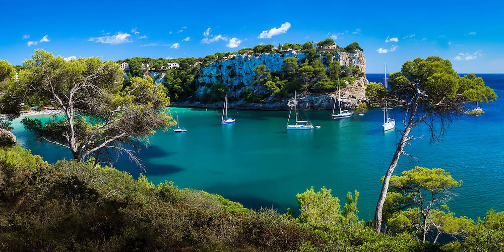 Sailboat in Cala Galdana on Menorca, Spain