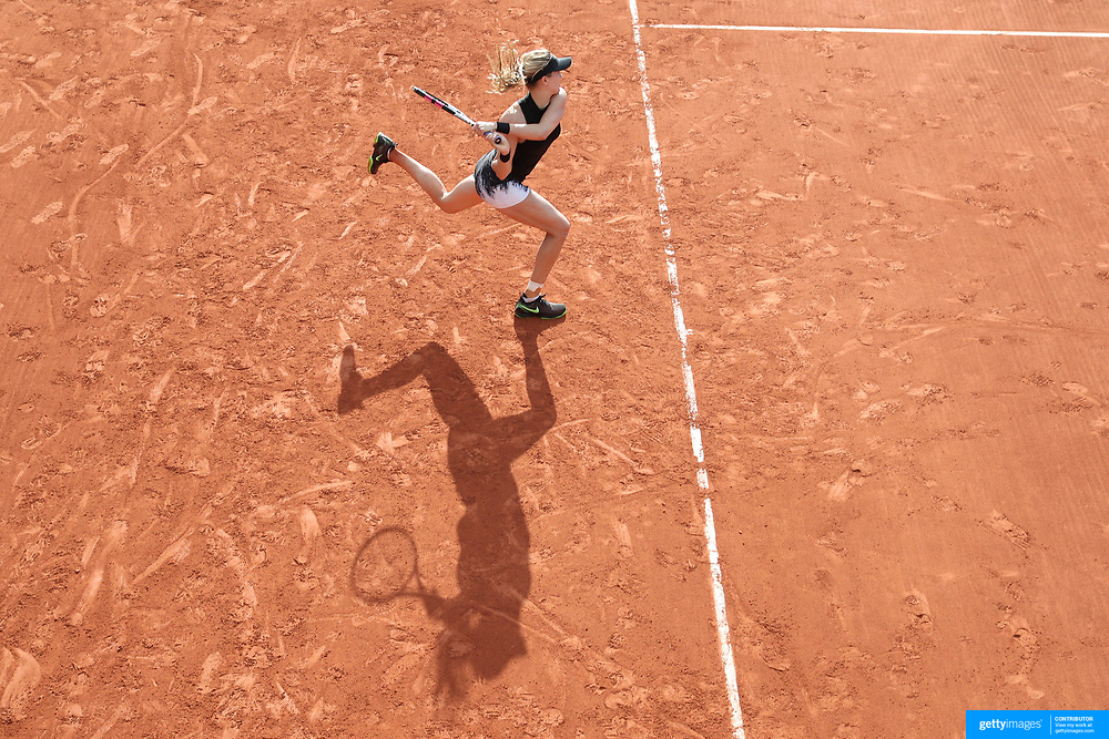 2017 French Open Tennis Tournament - Day Three.  Eugenie Bouchard of Canada in action during her victory against Risa Ozaki of Japan during the Women's Singles round one match on court number two at the 2017 French Open Tennis Tournament at Roland Garros on May 30th, 2017 in Paris, France.  (Photo by Tim Clayton/Corbis via Getty Images)