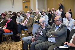 © Licensed to London News Pictures . 16/02/2017. Stoke-on-Trent, UK. Audience at a hustings in Stoke-on-Trent Central by-election for local businesses with Lib Dem candidate Dr Zulfiqar Ali, Conservative candidate Jack Brereton,  Labour candidate Gareth Snell and, in place of UKIP candidate Paul Nuttall who didn't turn up , Patrick O'Flynn . Photo credit: Joel Goodman/LNP