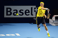 Kei Nishikori (JPN) in action whilst winning  against Paolo Lorenzi (ITA) in the ATP 500 Swiss Indoors in Basel