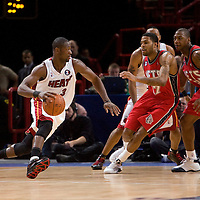 9 October 2008: Dwyane Wade of the Miami Heat goes to the basket during the New Jersey Nets 100-98 overtime victory over the Miami Heat in an exhibition game at Bercy Arena, in Paris, France.