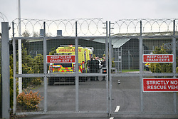 © Licensed to London News Pictures. 31/01/2020. Brize Norton, UK. Ambulances are seen arriving at RAF Brize Norton in Oxfordshire before a plane carrying Britons from Wuhan in China arrives. A flight, carrying 150 Britons and 50 people from elsewhere in the EU from the centre of the coronavirus outbreak, was initially delayed because of a lack of clearance by Chinese Authorities. Photo credit: Ben Cawthra/LNP