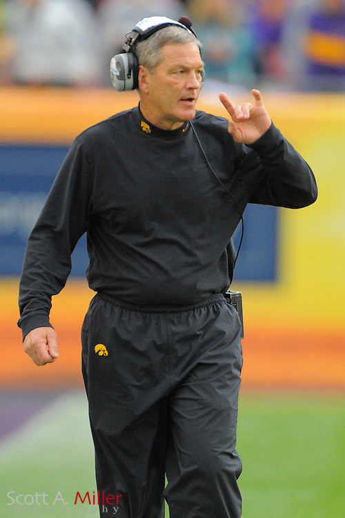 Iowa Hawkeyes head coach Kirk Ferentz during the LSU Tigers 21-14 win over the Hawkeyes in the 2014 Outback Bowl at Raymond James Stadium on January 1, 2014 in Tampa, Florida.                                  <br /> <br /> &copy;2014 Scott A. Miller