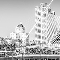 Milwaukee skyline panoramic photo in black and white. Picture includes the Milwaukee Art Museum, University Club Tower, and Northwestern Mutual Tower, Milwaukee lakefront. Panoramic photo ratio is 1:3. Image is high resolution.