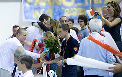 Emil Tahirovic and Matjaz Markic of Slovenia celebrate with their fans after winning the 50m Men`s Breaststroke final race, during the 3rd day of LEN European Short Course Swimming Championships Rijeka 2008, on December 13, 2008,  in Kantrida pool, Rijeka, Croatia. (Photo by Vid Ponikvar / Sportida)