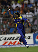 02.04.2011 Cricket World Cup Final from the Wankhede Stadium in Mumbai. Sri Lanka v India. Lasith Malinga of Sri Lanka celebrates the wicket of Sachin Tendulkar during the final match of the ICC Cricket World Cup between India and Sri Lanka.