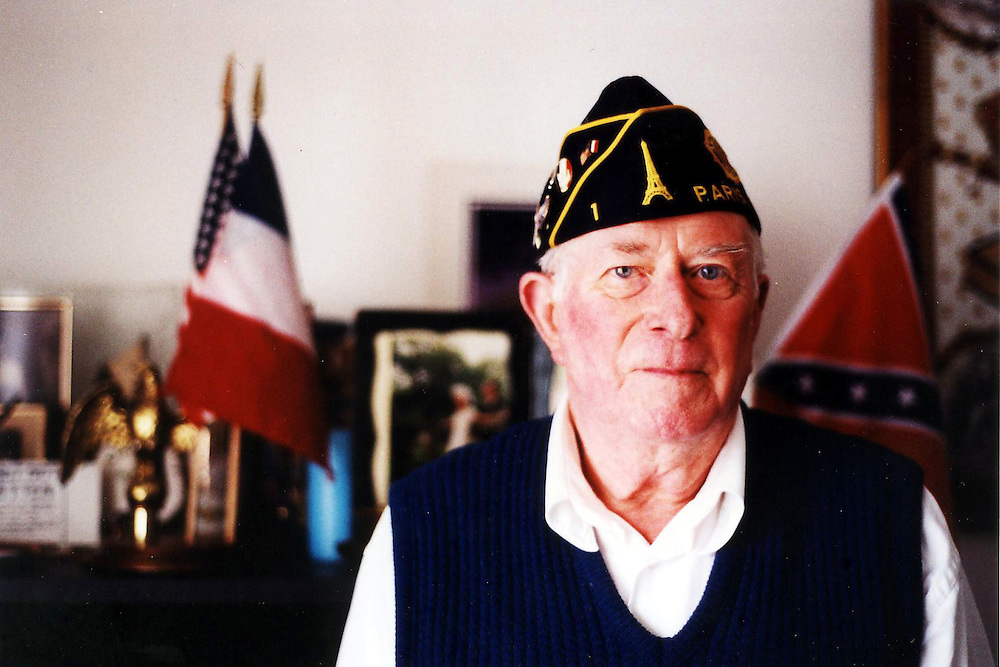 Bill Coleman, in his flat in Normandy in June 2004, American D-Day veteran. He died, aged 81 in July 2005.