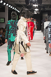 """© Licensed to London News Pictures. 02/06/2015. London, UK. Runway show """"Best of Graduate Fashion Week 2015"""". Graduate Fashion Week takes place from 30 May to 2 June 2015 at the Old Truman Brewery, Brick Lane. Photo credit : Bettina Strenske/LNP"""