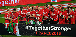 CARDIFF, WALES - Tuesday, October 13, 2015: Wales players celebrate after qualifying for the finals following a 2-0 victory over Andorra during the UEFA Euro 2016 qualifying Group B match at the Cardiff City Stadium. Jonathan Williams, Joe Allen, captain Ashley Williams, Gareth Bale, Aaron Ramsey, goalkeeper Daniel Ward, Neil Taylor, Andy King, Ben Davies. (Pic by Paul Currie/Propaganda)