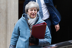 London, UK. 21st January, 2019. The Prime Minister Theresa May leaves 10 Downing Street to present an alternative strategy on Brexit in the House of Commons after the Government lost last Tuesday's vote on her Withdrawal Agreement by a record 230 votes.