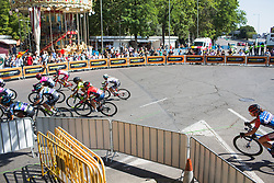 The peloton leans into a corner on Stage 2 of the Madrid Challenge - a 100.3 km road race, starting and finishing in Madrid on September 16, 2018, in Spain. (Photo by Balint Hamvas/Velofocus.com)