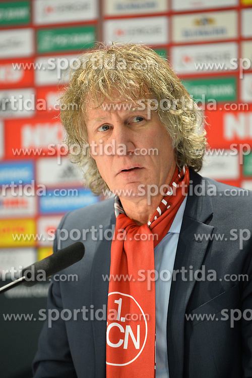 22.02.2014, easyCredit Stadion, Nuernberg, GER, 1. FBL, 1. FC Nuernberg vs Eintracht Braunschweig, 22. Runde, im Bild Trainer Gertjan Verbeek (1 FC Nuernberg) bei der Pressekonferenz nach dem Spiel gegen die Eintracht Braunschweig Portrait / Portraet // during the German Bundesliga 22nd round match between 1. FC Nuernberg and Eintracht Braunschweig at the easyCredit Stadion in Nuernberg, Germany on 2014/02/23. EXPA Pictures &copy; 2014, PhotoCredit: EXPA/ Eibner-Pressefoto/ MERZ<br /> <br /> *****ATTENTION - OUT of GER*****