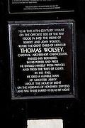 Thomas Wolsey information plaque, Ipswich, Suffolk, England