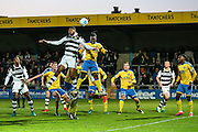 Forest Green Rovers Shamir Mullings(18) goes up to head the ball during the Vanarama National League match between Torquay United and Forest Green Rovers at Plainmoor, Torquay, England on 26 December 2016. Photo by Shane Healey.