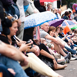 London, UK - 27 August 2012: spectators wait for the parade of the annual Notting Hill Carnival.