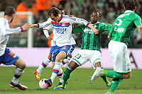 FOOTBALL - FRENCH CHAMPIONSHIP 2011/2012 - L1 - AS SAINT ETIENNE v OLYMPIQUE LYONNAIS - 17/03/2012 - PHOTO EDDY LEMAISTRE / DPPI - KIM KALLSTROM (OL) AND ALBIN EBONDO (ASSE)
