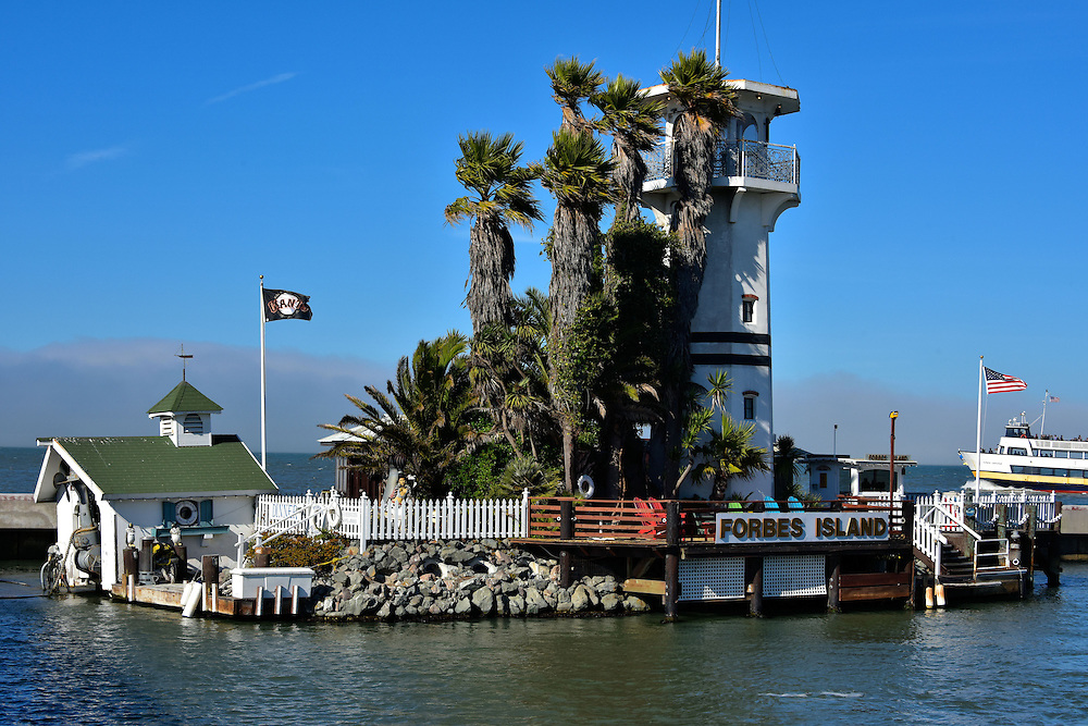 Forbes Island Restaurant in San Francisco, California<br /> If you are eccentric and rich, why not build your own floating island as a residence?  That&rsquo;s what Forbes Kiddoo did in 1980.  But then it spent years at different dock locations before mooring between Pier 39 and 41 in 1999.  Since then, it has been renovated from his home with three state rooms and a waterfall hot tub to a gourmet, underwater restaurant with its own 40 foot lighthouse, sandy beach and palm trees outside.