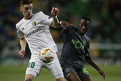 December 13, 2018 - Lisbon, Portugal - Taras Sakiv of Vorskla (L) vies for the ball with Carlos Mane of Sporting (R)  during UEFA Europa League football match between Sporting CP vs Vorskla, in Lisbon, on December 13, 2018. (Credit Image: © Carlos Palma/NurPhoto via ZUMA Press)