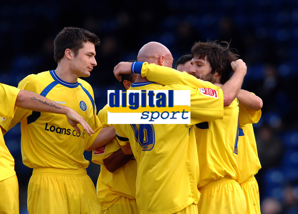 Photo: Paul Greenwood.<br />Bury FC v Wycombe Wanderers. Coca Cola League 2. 17/02/2007. Wycombe's Tommy Doherty, right, celebrates his goal with team mates
