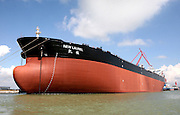 """GUANGZHOU, CHINA - NOVEMBER 4: (CHINA OUT) <br /> <br /> China's largest crude oil tanker """"Kai Gui"""" with load capacity of 200,000 tons starts its maiden voyage on November 4, 2014 in Guangzhou, Guangdong province of China. China's largest crude oil tanker """"Kai Gui"""" with total height of over 70 meters is seven times larger than Chinese aircraft carrier """"Liaoning"""". <br /> ©Exclusivepix"""