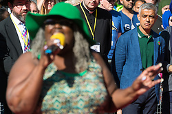 © Licensed to London News Pictures. 27/08/2017. London, UK. Mayor of London SADIQ KHAN make a speech at a multi-faith prayer service taking place before the start of the first day of the Notting Hill Carnival. The service is to remember the victims of the Grenfell Fire. It is second largest street festival in the world after the Rio Carnival in Brazil, attracting over 1 million people. Photo credit: Ray Tang/LNP