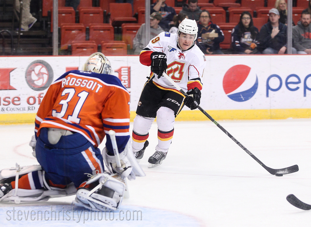 February 20, 2015: The Oklahoma City Barons play the Adirondack Flames in an American Hockey League game at the Cox Convention Center in Oklahoma City.